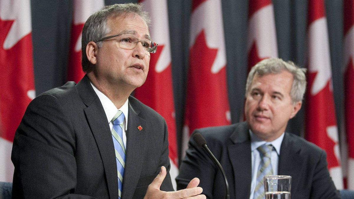 Minister of State for Science and Technology Gary Goodyear delivers some remarks as Chair Tom Jenkins releases the final report of a panel review of federal support to reasearch and development at a news conference in Ottawa, Oct. 17, 2011.