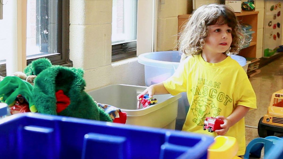 Alfie Bolton plays at Westminster Public School, where he met with his teacher and was introduced to the classroom when he starts full day junior kindergarten this year.