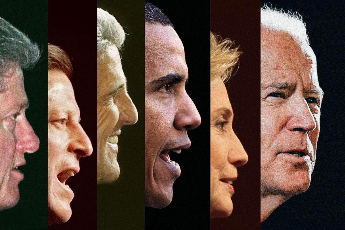 Progression of Democratic presidential candidates from Bill Clinton to Joe Biden.