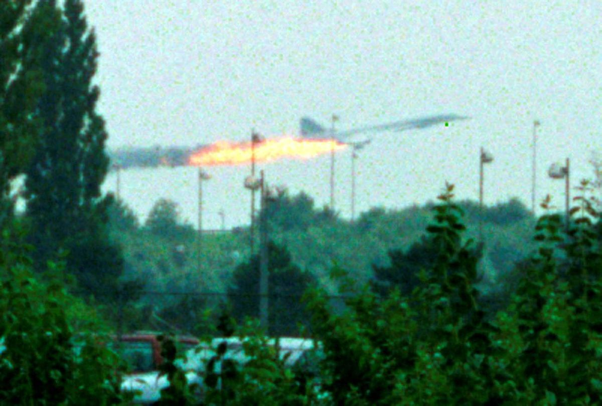 File photo of flames coming out of the Air France Concorde seconds before it crashed in Gonesse near Paris Roissy airport