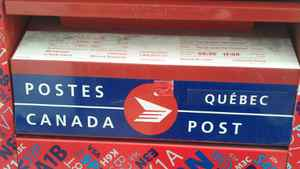 A Canada Post mailbox is shown handout photo from Global News in Montreal, March 1, 2012.