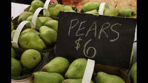 Janine Wong: Pears from the McMaster Farmstand which runs biweekly to provide local produce to students on campus.