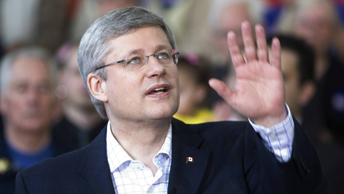 Conservative Leader Stephen Harper makes a campaign stop in Sault Ste. Marie, Ont., on April 25, 2011.