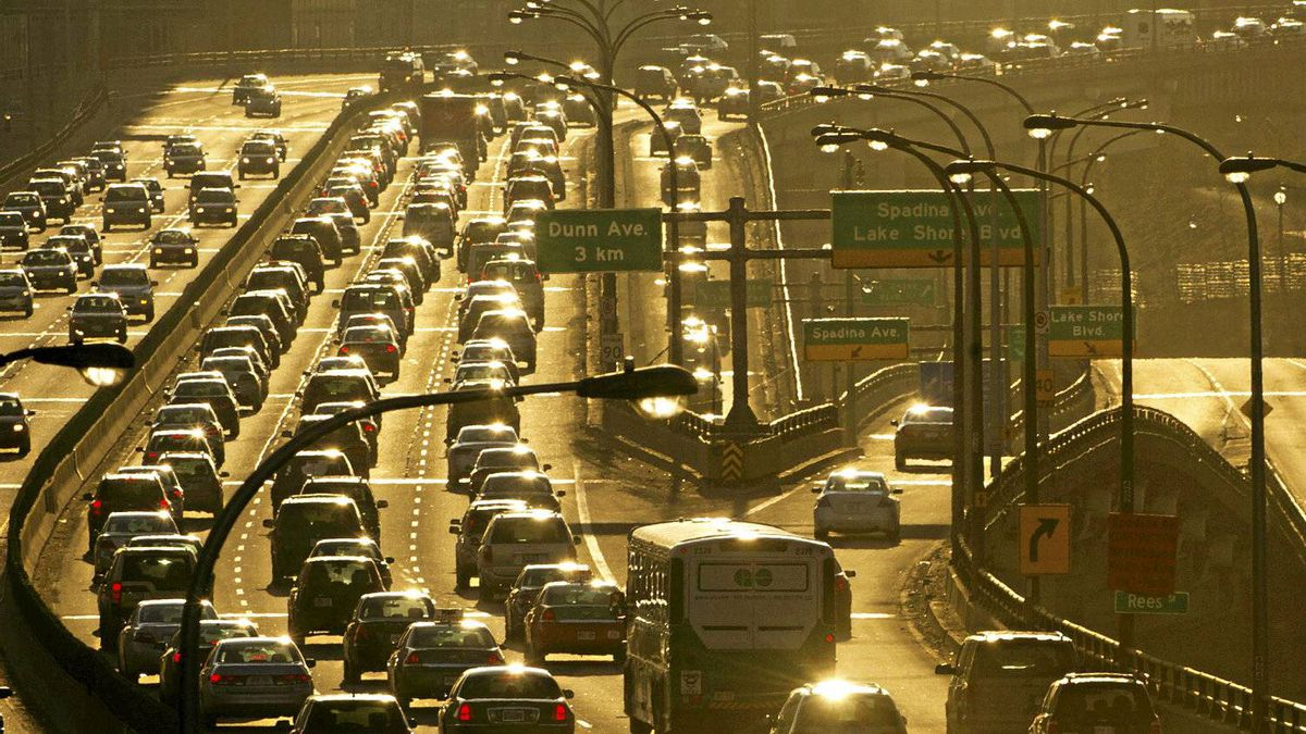 Traffic piles up on the Gardiner Expressway as commuters head home during the evening rush hour in Toronto, Ont. March 14/2011.