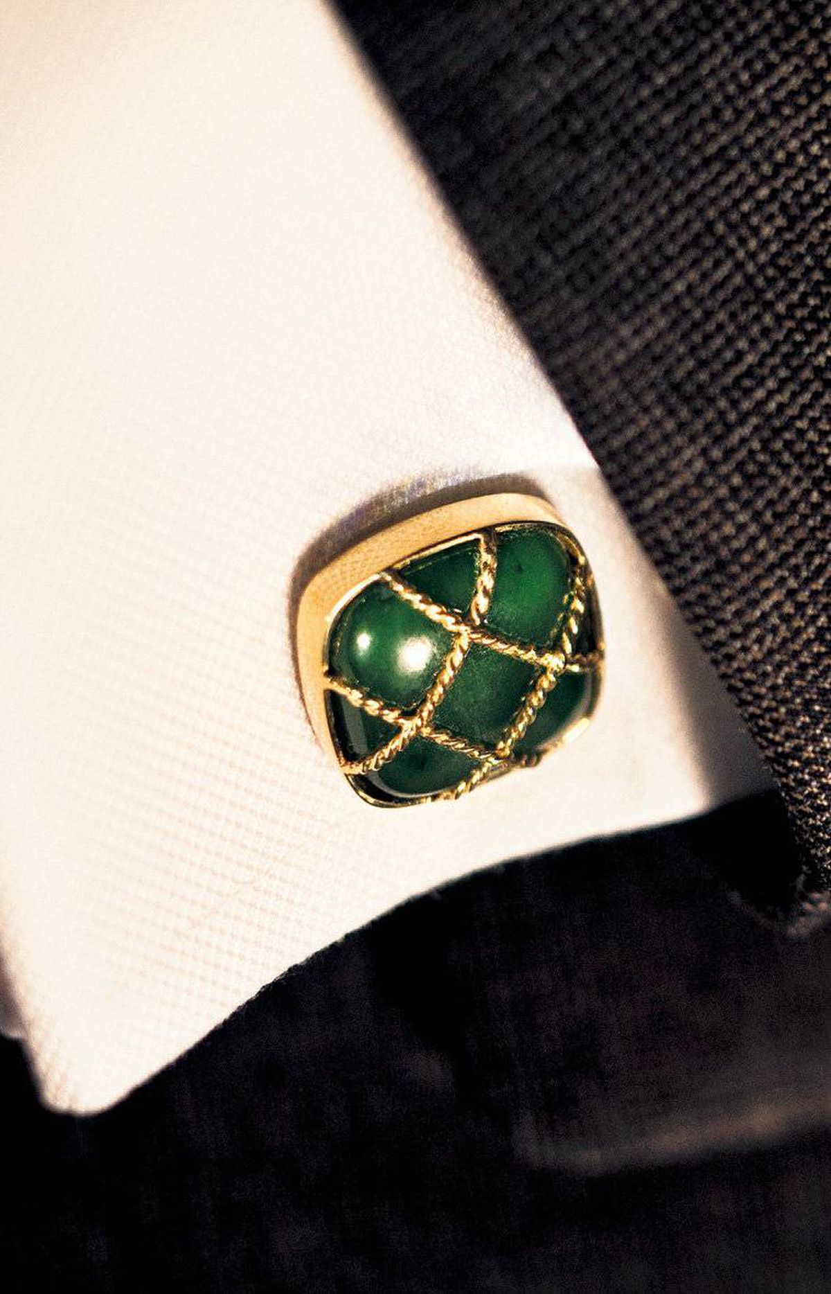 Classic cufflinks A man reveals a lot about his personality by his choice of cufflinks. Sure, animal shapes and pin-up images are conversation starters, but elegant and timeless? Not exactly. Instead, look for gemstones like chrysoprase and chalcedony. Here, a gold basket-weave design is set atop the cushion-shaped, hand-grooved stones. Myles Mindham nephrite cufflinks, $2,980 through www.mindham.com.