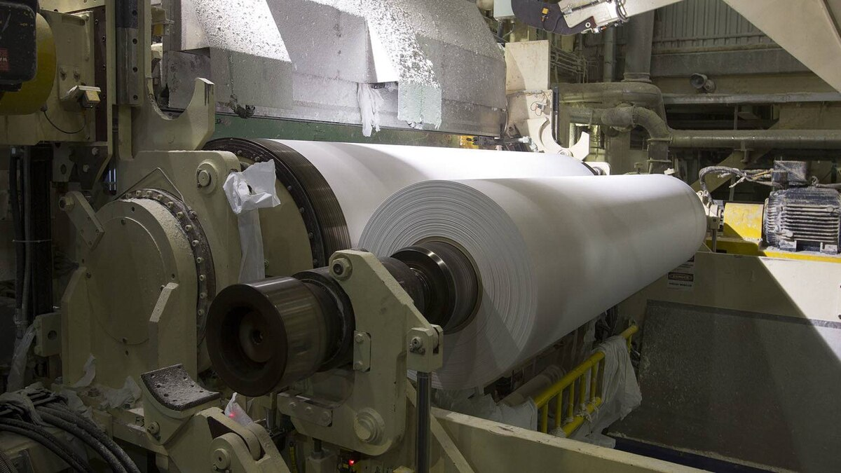 Tissue being rolled at Cascades Tissue Group plant, in Candiac.