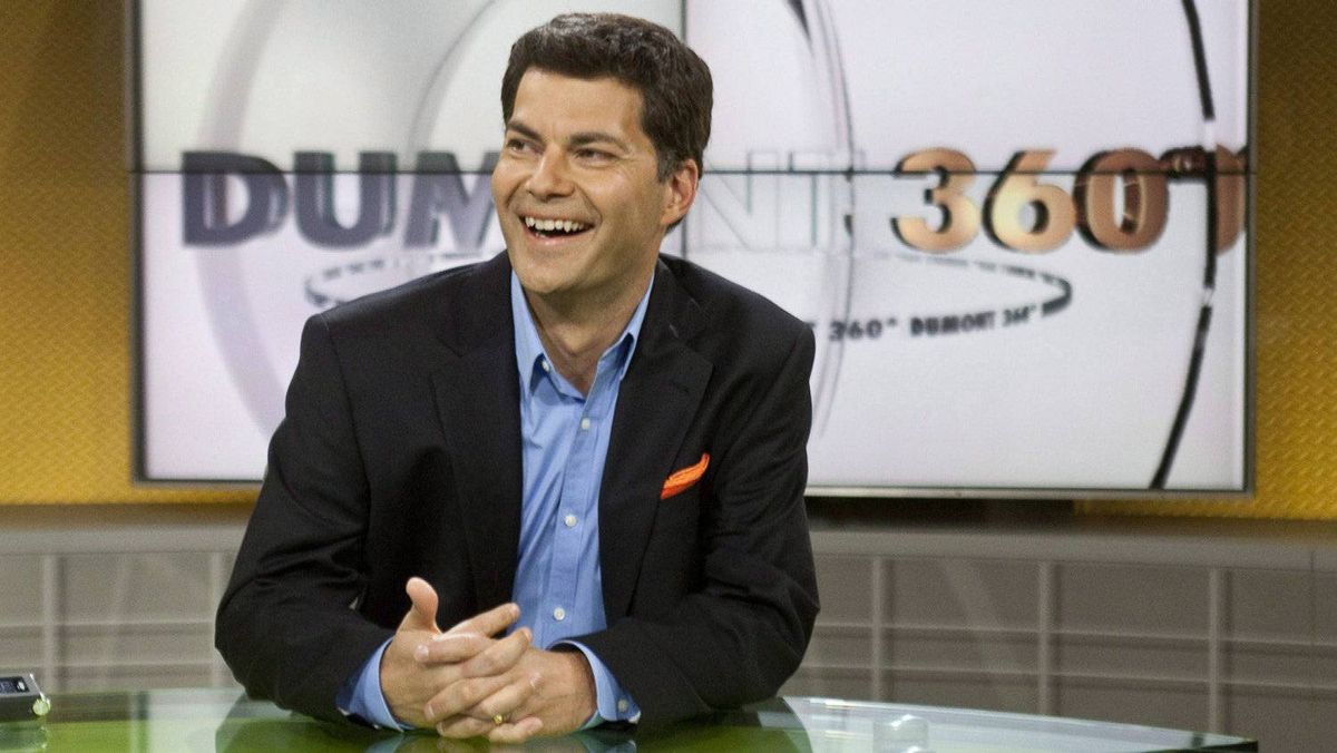 Former ADQ Leader Mario Dumont sits on the set of his new current affairs television show Monday, August 31, 2009 in Montreal.