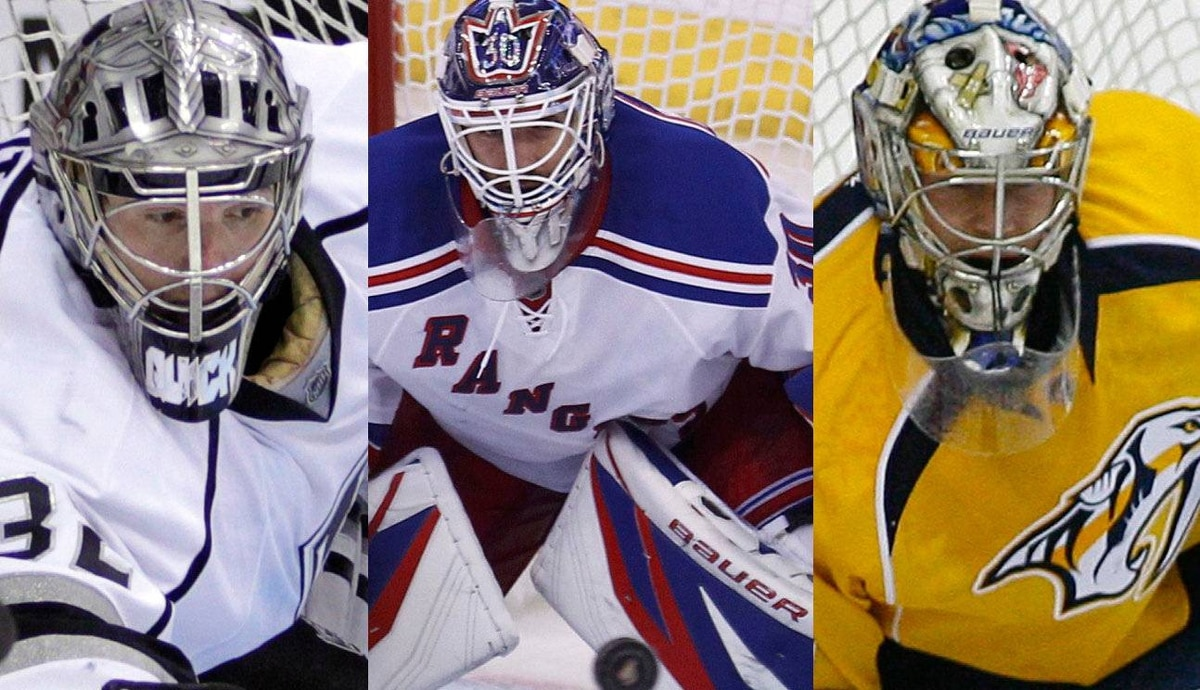 The Kings' Jonathan Quick, the Rangers' Henrik Lundqvist, and the Predators' Pekka Rinne have been nominated for the Vezina Trophy.