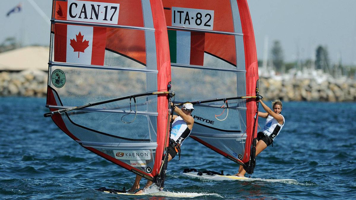 Nikola Girke of Canada and Veronica Fanciulli of Italy compete in the RS:X Women's Windsurfer event at the ISAF World Sailing Championships off Fremantle on December 5, 2011.
