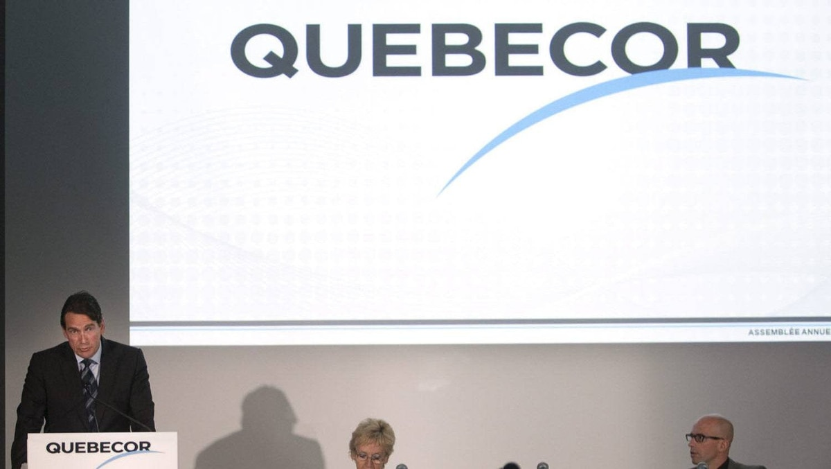 Quebecor chief executive Pierre Karl Peladeau speaks to shareholders at the company's annual meeting Thursday, May 26, 2011 in Montreal.