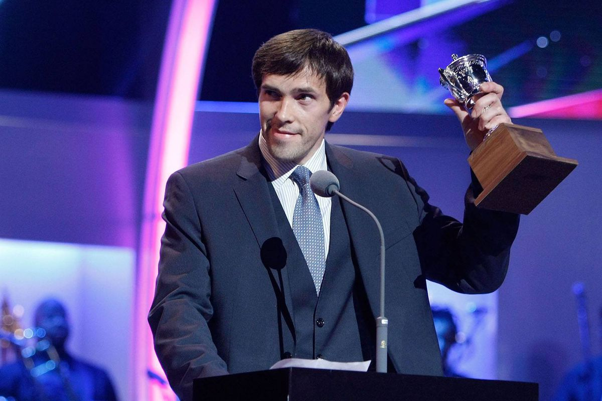 Pavel Datsyuk of the Detroit Red Wings accepts the Lady Byng Trophy.