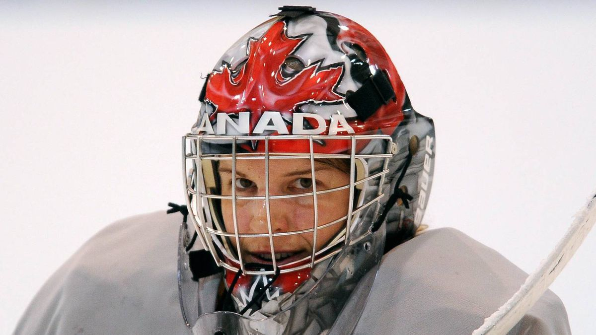 Canada's Kim St-Pierre and the rest of the women's Olympic Ice Hockey Team practised on their off day at UBC Thunderbird Arena in Vancouver , Tuesday, February 16 , 2010 at the 2010 Vancouver Olympic Winter Games in Vancouver.