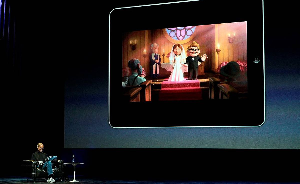Apple Inc. CEO Steve Jobs announces the new iPad as he speaks during an Apple Special Event at Yerba Buena Center for the Arts in San Francisco, California.