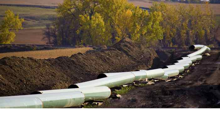 The unfinished Keystone oil pipeline stretches through the North Dakota countryside.