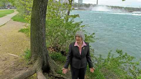 Niagara Parks Commission's Chairwoman Fay Booker walks near the Niagara River just west of the Horseshoe Falls on My 18, 2011.
