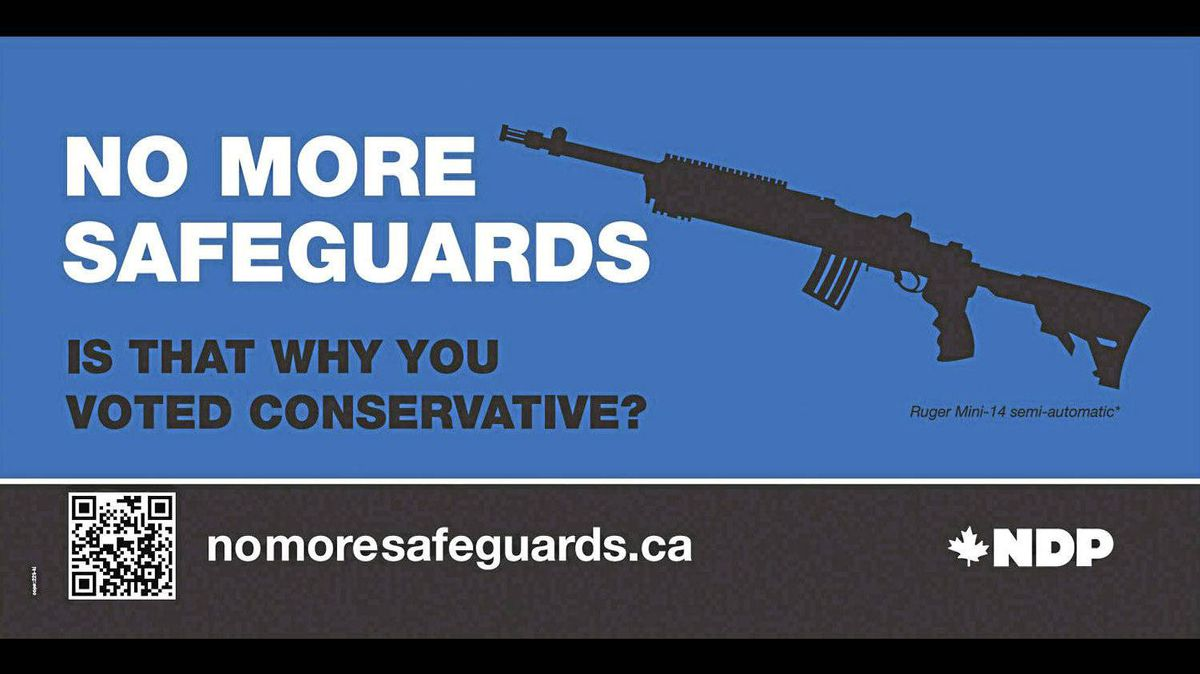 The NDP is changing the graphic on the ad seen here after it was revealed that the gun is, in fact, already restricted.