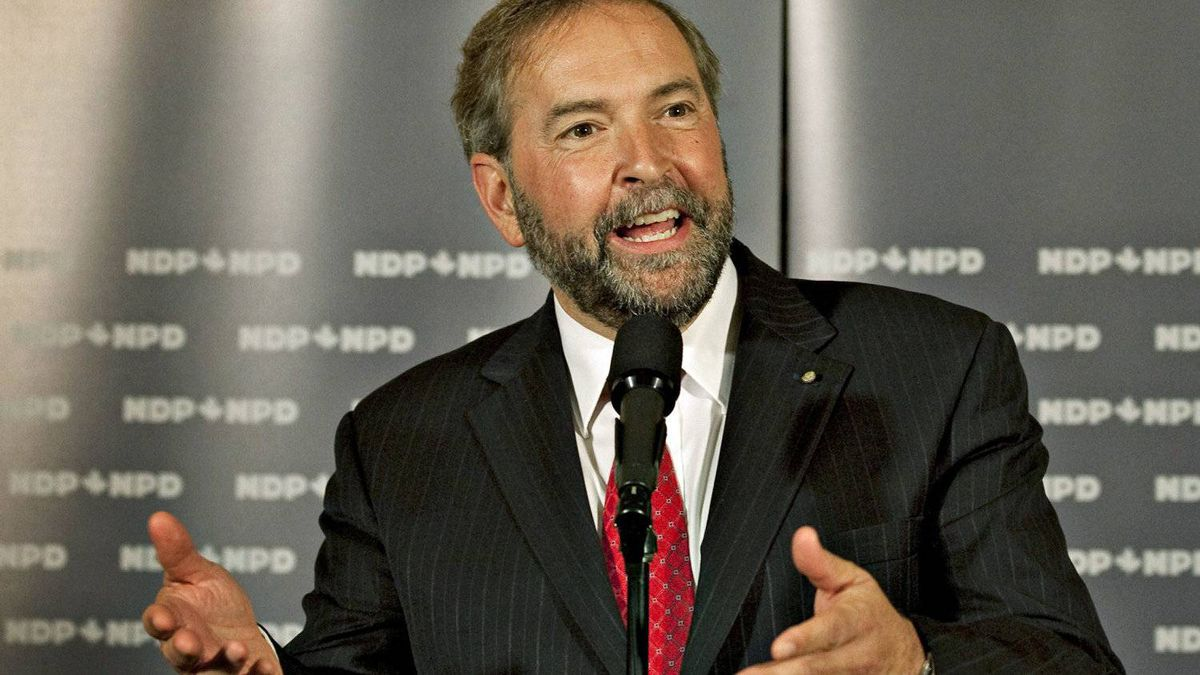 Deputy NDP leader Thomas Mulcair takes questions at a caucus meeting in Quebec City on Sept. 13, 2011.
