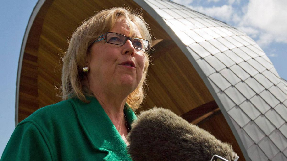 Green Party Leader and Saanich-Gulf Islands MP Elizabeth May holds a post-election news conference in Sidney, B.C., on May 3, 2011.