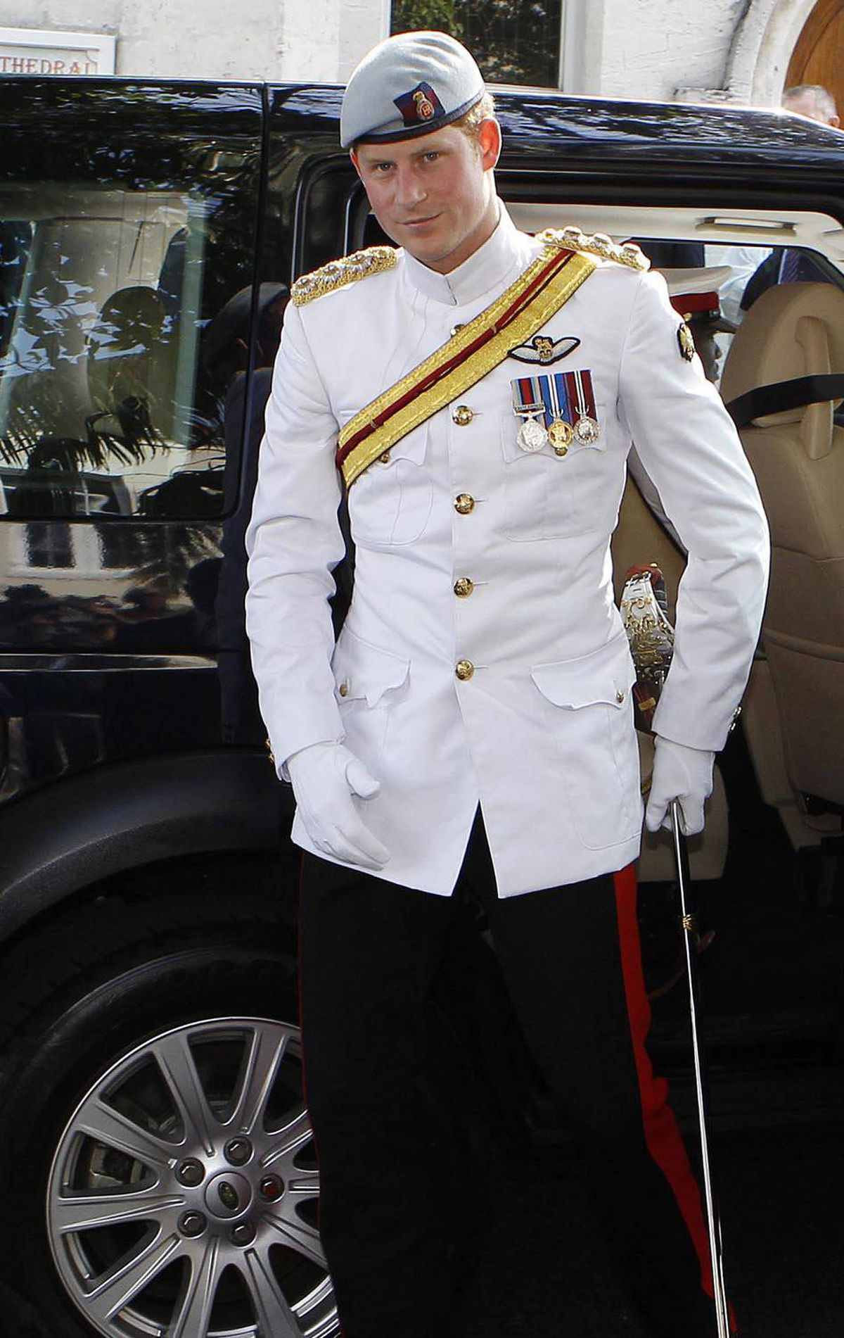 FANCY Britain's Prince Harry arrives at Christchurch Cathedral, wearing Blues and Royals #1 Uniform Tropical in Nassau, Bahamas, March 4, 2012.