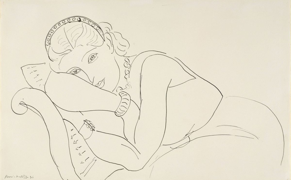 Henri Matisse, Resting Woman Wearing Tiara, 1936, pen and black ink, The Baltimore Museum of Art: The Cone Collection, formed by Dr. Claribel Cone and Miss Etta Cone of Baltimore, Maryland, BMA