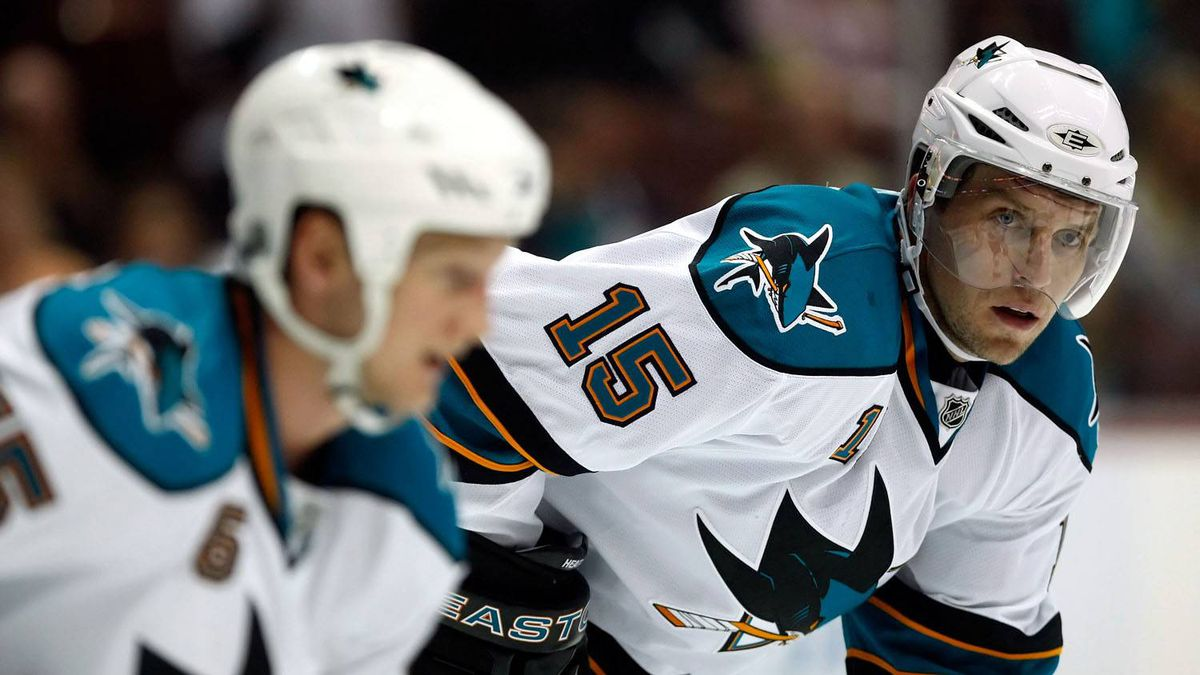 Dany Heatley of the San Jose Sharks looks on against the Anaheim Ducks during the preseason game at the Honda Center on September 21, 2009 in Anaheim, California.