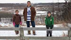 Torontonian turned Westerner Jay Palter pictured with his kids Ella Palter and Ben Palter in a park near their home in Edmonton Alberta. The family moved to Edmonton two and a half years and are enjoying the Western Canadian lifestyle.