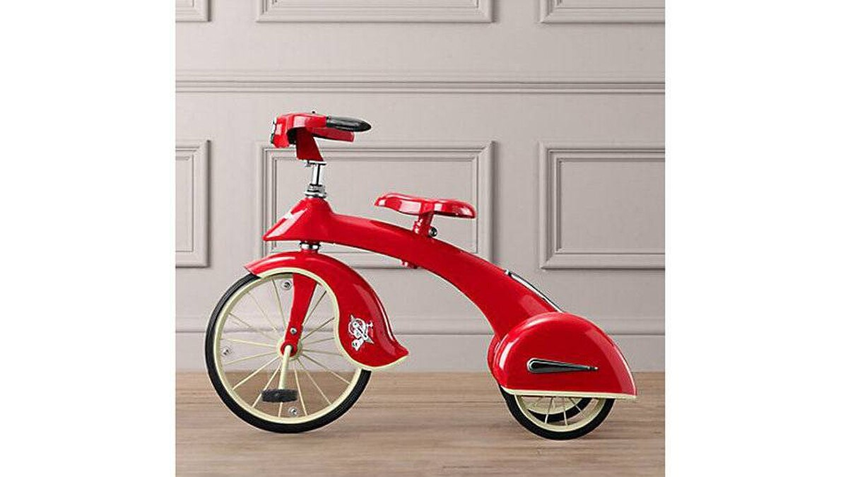 Restoration Hardware's red trike is an exact replica of a 1936 Sky King tricycle, in steel and chrome with retro-styled fenders and a working headlight. The antique originals go for upward of $3,000, but this model is $159. Built for kids ages 3 to 5; also comes in pink. rhbabyandchild.com
