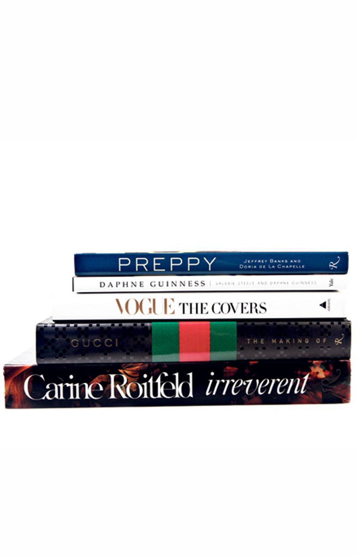 Preppy: Cultivating Ivy Style, Daphne Guinness, Vogue: The Covers, The Making of Gucci, Carine Roitfeld: Irreverent, $45 to $185 through www.amazon.ca.