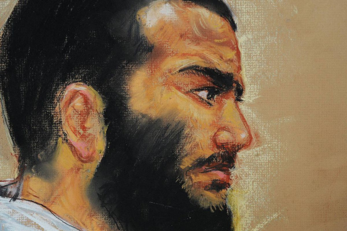 In this courtroom drawing by artist Janet Hamlin, reviewed by the US military, Canadian-born accused terrorist Omar Khadr attends a pre-trial session in Camp Justice on the U.S. Naval Base in Guantanamo Bay, Cuba, Friday