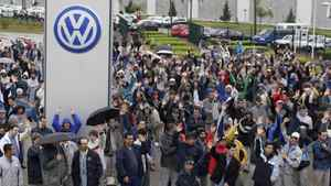 Brazilian workers at Volkswagen's Sao Jose dos Pinhais factory.
