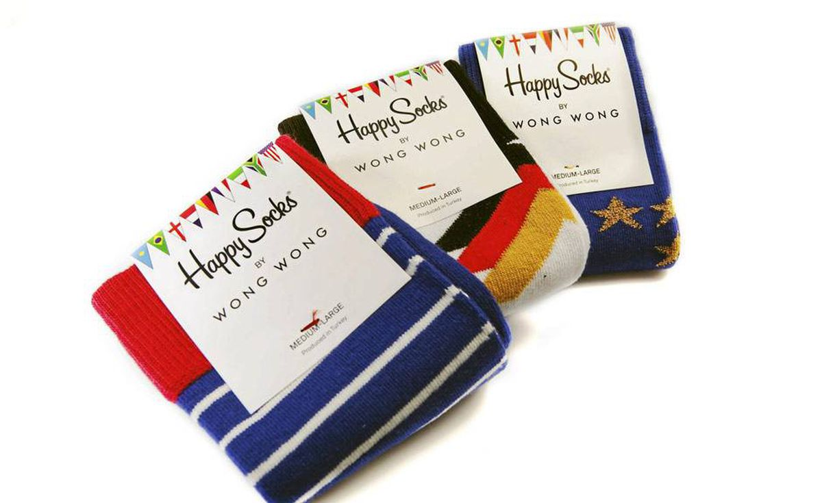 Sock it to them: Kick around in style with Wong Wong's World Cup designs for Happy Socks. Score all eight pairs, including Brazil, Argentina and South Africa, for the ultimate goaaaal! $16 each at Holt Renfrew (www.holtrenfrew.com).
