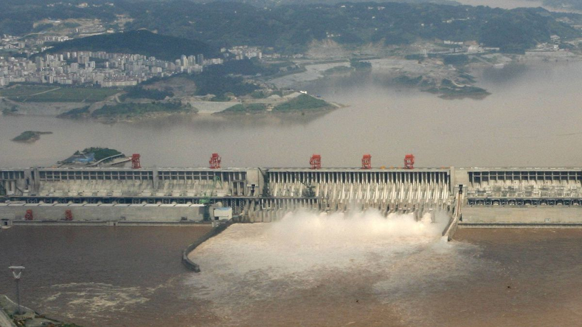 A general view of the three Gorges Dam Project discharging water to lower water level in the reservoir in Yichang, central China's Hubei province.