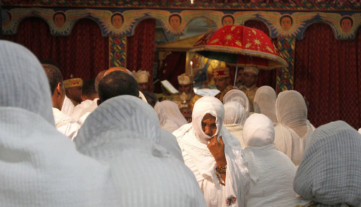 Members of the Ethiopian Community from GTA take part on the celebration of Ethiopian Easter, or Fasika, at the St. Mary's Ethiopian Orthodox church on Tycos Drive, Toronto April 14, 2012,