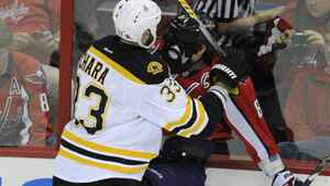 Boston Bruins defenseman Zdeno Chara (33), of Slovakia, checks Washington Capitals left wing Alex Ovechkin (8), of Russia, into the boards during the first period of Game 6 of an NHL hockey Stanley Cup first-round playoff series, Sunday, April 22, 2012, in Washington.