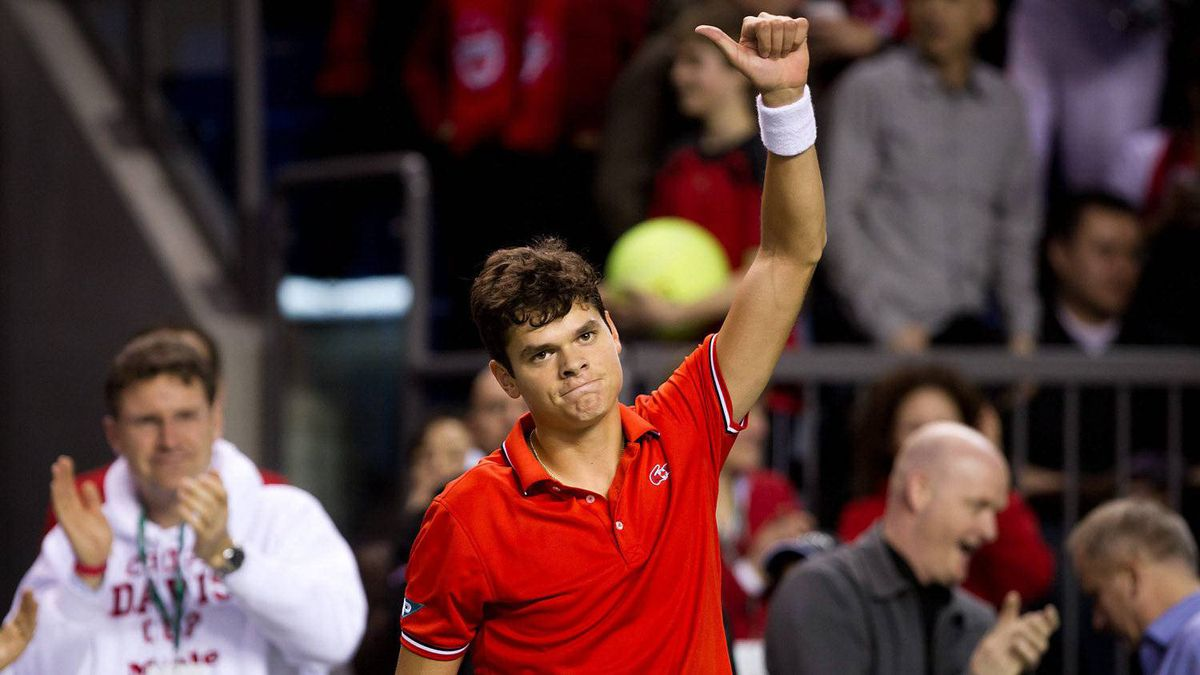 Canada's Milos Raonic celebrates his straight sets win over France's Julien Benneteau during a Davis Cup tennis singles match in Vancouver, B.C., on Friday February 10, 2012.