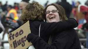 Canadians who get hugs 'all the time' were twice as likely as to say their mental health was excellent.