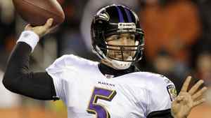 Baltimore Ravens' quarterback Joe Flacco (5) throws under pressure from the Cincinnati Bengals' defense during the second half of play in their NFL football game at Paul Brown Stadium in Cincinnati, Ohio, January 1, 2012. The Bengals advance to play the Houston Texans in next weekend's wildcard playoffs while the Ravens advanced to the NFL divisional finals after Sunday's 24-16 win. REUTERS/John Sommers II
