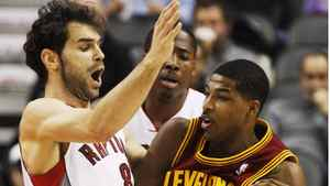 Cleveland Cavalier Tristan Thompson goes to the basket against Toronto Raptor Jose Calderon during the first half Jan. 4, 2012.
