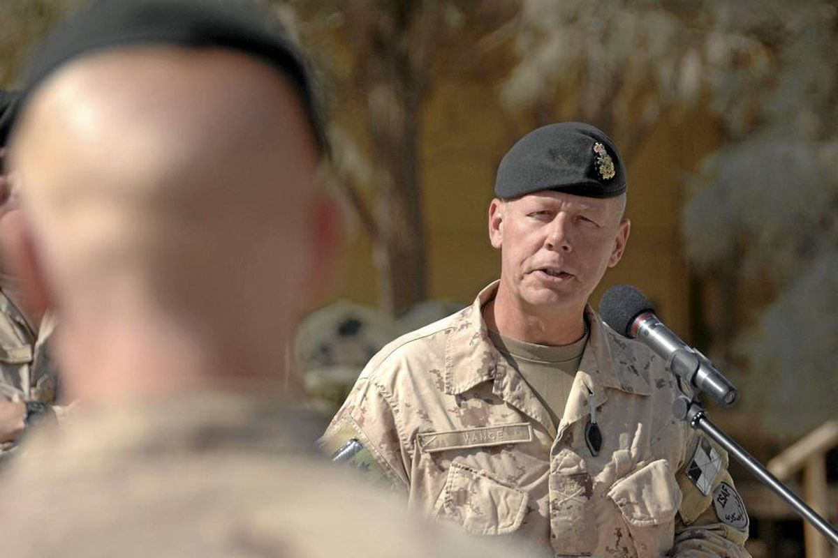 Brigadier-General Jonathan Vance addresses a parade in Kandahar last October. Brig.-Gen. Vance is taking over Canada's mission in Kandahar after Brig.-Gen. Daniel Menard was relieved of that command due to disciplinary proceedings.