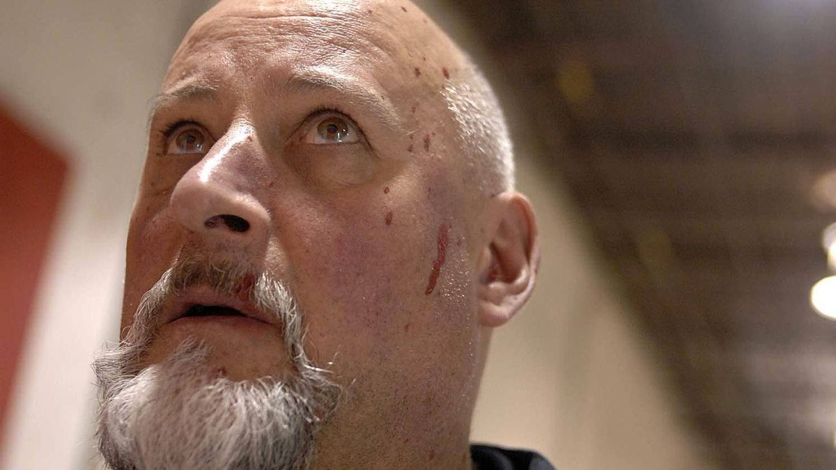 """Red paint splatters the face of actor Jim Mezon as he learns how to paint in the style of Mark Rothko. Mezon plays the great abstract expressionist painter in the upcoming Canadian Stage production of """"Red""""."""