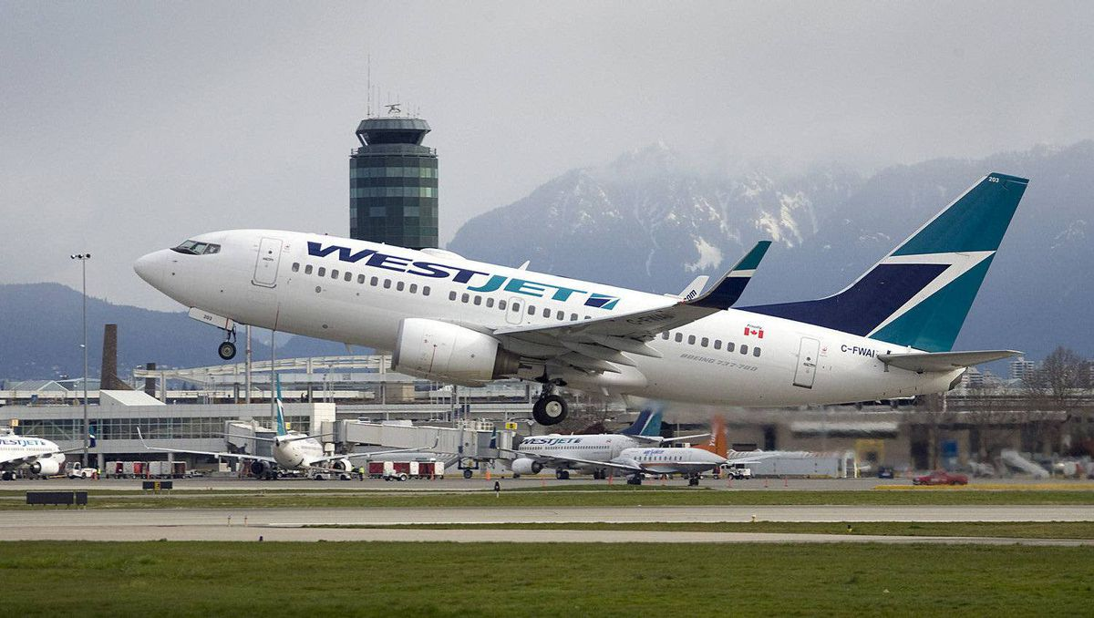 A Westjet flight takes off at the Vancouver airport.