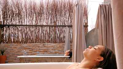 Take a long soak in the open-air bath at the Open Sky Retreat and Spa in Washington.