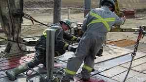 Crew works on a Petrobakken drilling rig