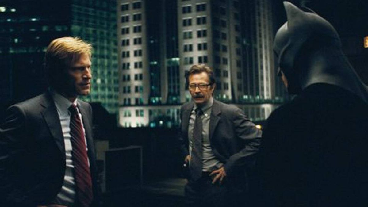 Gary Oldman (middle) as James Gordon in The Dark Knight (2008), with Aaron Eckhart and Christian Bale.