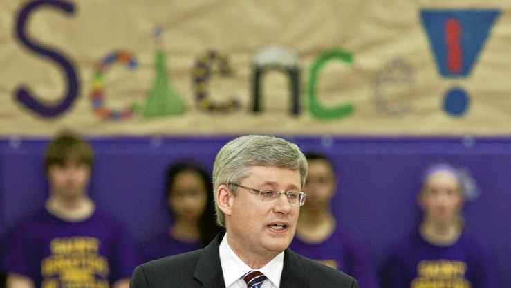Prime Minister Stephen Harper speaks to students at St. Ignatius of Loyola School in Guelph Ontario, Friday, March 11, 2011 where he announced funding for science education programs.