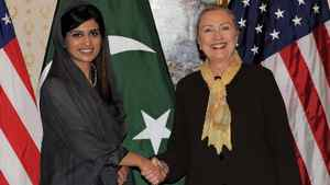 U.S. Secretary of State Hillary Clinton, right, meets with Pakistan's Foreign Minister Hina Rabbani Khar in New York on Sept. 18, 2011.