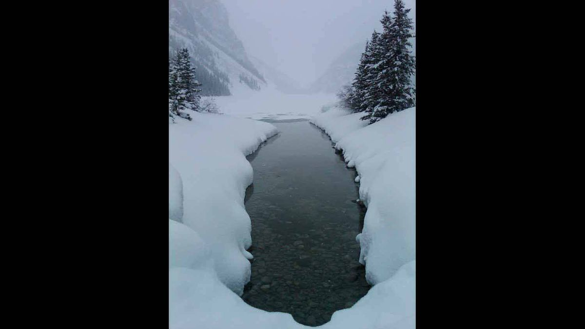 A perfect winter's setting while at Lake Louise April 01, 2012