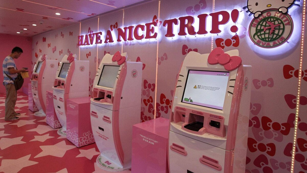 The Hello Kitty experience begins at check-in, with pink self-service counters, such as these at Taoyuan International Airport, northern Taiwan.