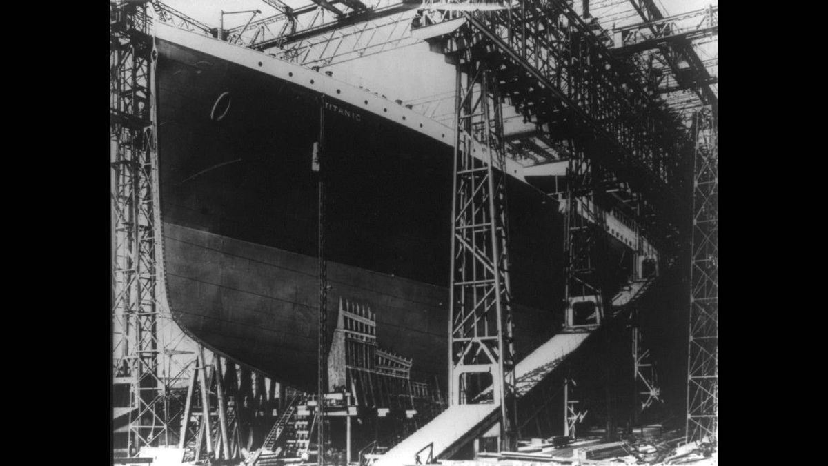 The Titanic just prior to being launched into the River Lagan for towing to a fitting-out berth where her engines, funnels and interiors would be installed, May 31, 1911.