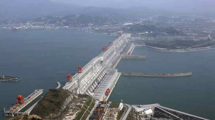 The Three Gorges Dam on the Yangtze River in Yichang, Hubei province.